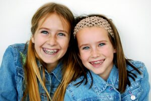 Two girls with braces