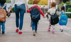 kids walking to school with mom